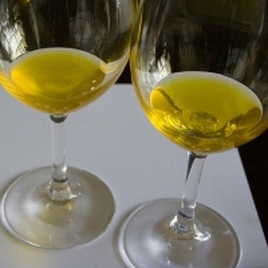 olive oil in wine glass